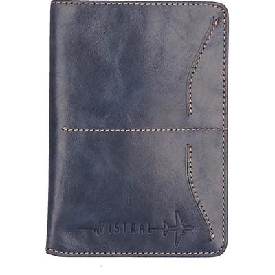 Футляр для паспорта с хлястиком, 1 отдел, 3 кармана, цвет синий