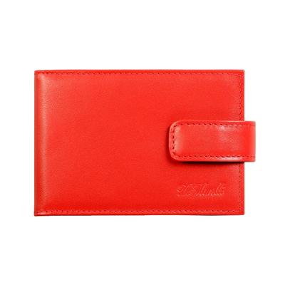 Визитница на кнопке, 4 ряда, 16 карманов, натуральная кожа, красный
