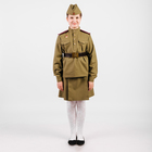 Костюм пехотинца для девочки, гимнастёрка, юбочка, ремень, пилотка, рост 128 см