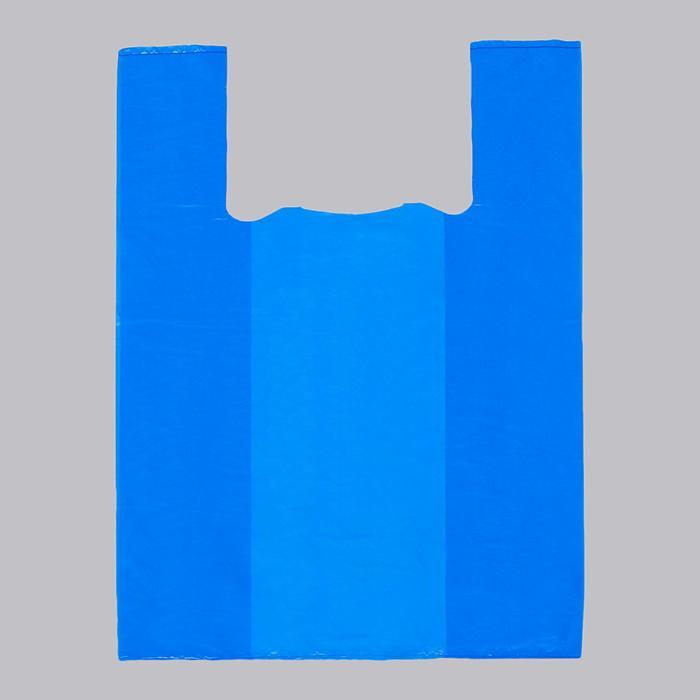 """Пакет """"Синий"""", полиэтиленовый, майка, 30 х 55 см, 17 мкм - фото 8444188"""