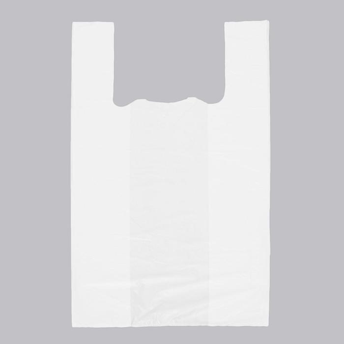 """Пакет """"Белый"""", полиэтиленовый, майка, 30 х 55 см, 17 мкм - фото 8444189"""