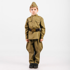 Костюм пехотинца для мальчика, эконом, гимнастёрка, галифе, пилотка, ремень, рост 104 см