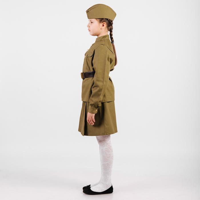Костюм пехотинца для девочки, эконом, гимнастёрка, юбочка, пилотка, ремень, рост 80 см