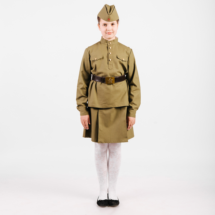Костюм пехотинца для девочки, эконом, гимнастёрка, юбочка, пилотка, ремень, рост 104 см