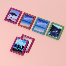 Зеркало компактное, прямоугольное, одностороннее, без увеличения, с рамкой под фотографию, цвет МИКС Ош