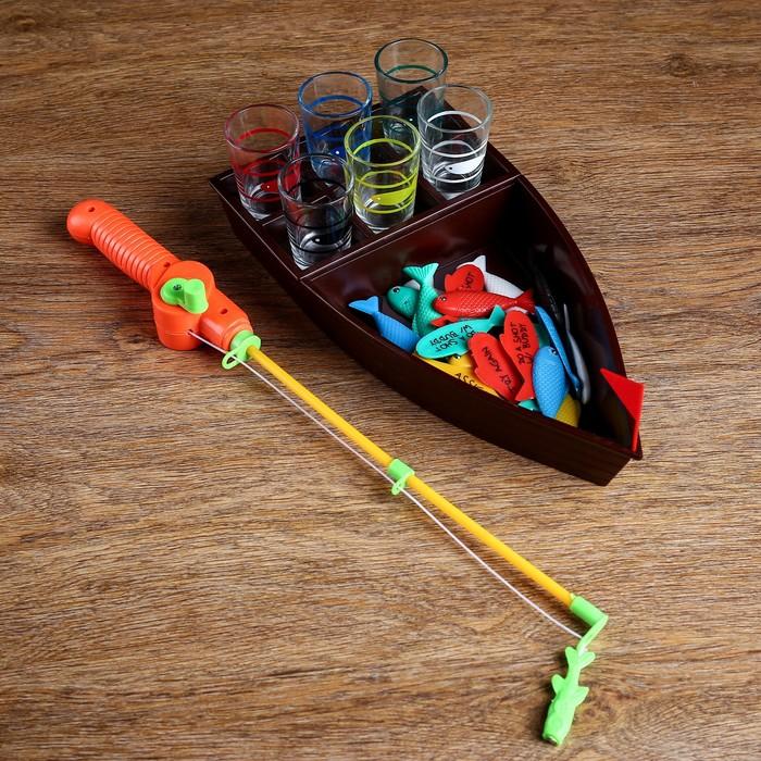 """Игра """"Пьяная рыбалка"""", лодка 30х16 см, 6 стопок"""