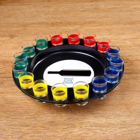 A drunken game of spin the Bottle, roulette, d=30 cm, 16 shot glasses, mix