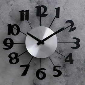"""Часы настенные, серия: Интерьер, """"Большие цифры"""", чёрные, d=31 см"""