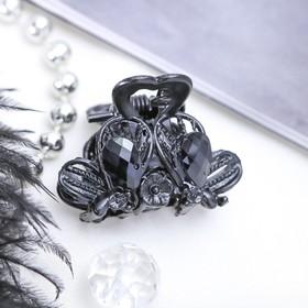Краб для волос 'Чёрные кружева' 2,5 см цветочек Ош