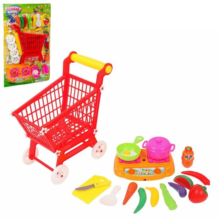 """Игровой набор """"Поход в супермаркет"""", тележка с продуктами, 17 предметов"""