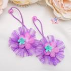 """Резинка для волос """"Маленькая модница"""" фиолетовые цветы (цена за пару)"""