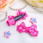 Hair clip Bow-4cm white flowers mix