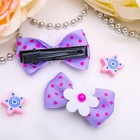 "Hair clip ""Bow decor"" 4 cm flowers polka dot mix"