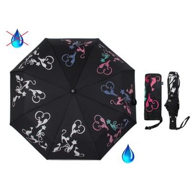 """Зонт полуавтоматический """"Богиня кошка """", R=50см, с проявляющимся рисунком, цвет чёрный"""