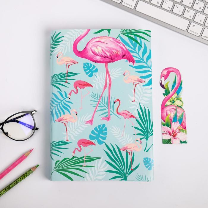 Обложка для книги с закладкой «Фламинго», 43×24 см