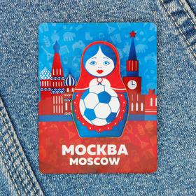 """Значок деревянный """"Москва"""" (матрешка), 2,7 х 4,5 см"""