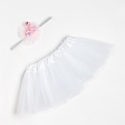 "Набор Крошка Я ""Лебедь"" юбка и повязка на голову 3-18 мес, белый"