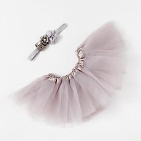 Набор Крошка Я «Цветочек» юбка и повязка на голову 3-18 мес, серый