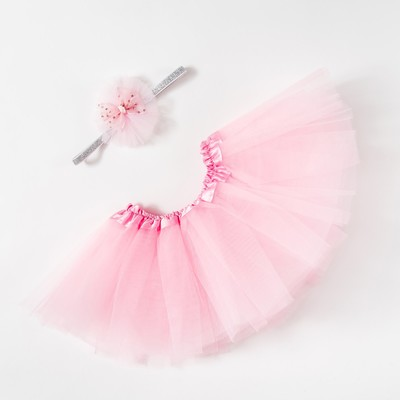 """Набор Крошка Я """"Любимый цветочек"""" юбка и повязка на голову 3-18 мес, розовый"""