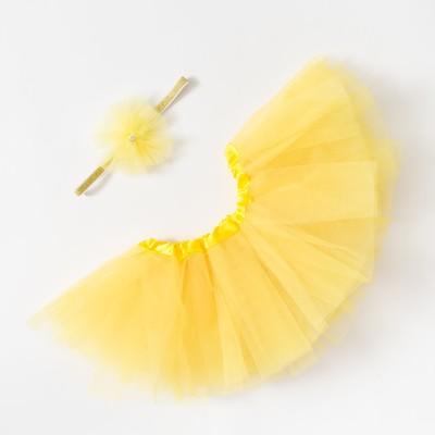 """Набор Крошка Я """"Любимый цветочек"""" юбка и повязка на голову 3-18 мес, жёлтый"""