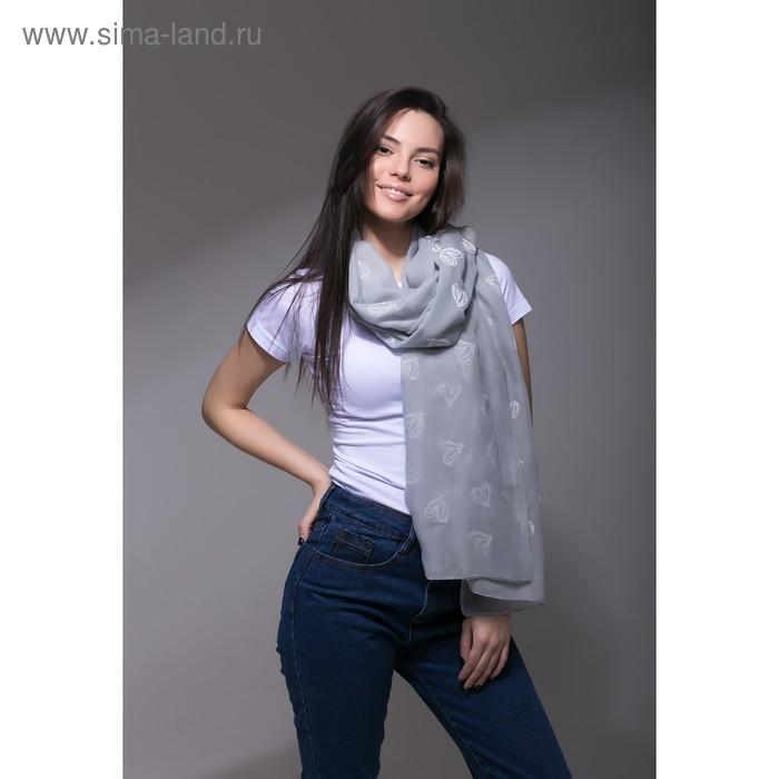 """Палантин Этель """"Сердечки"""", размер 70 х 180 см, вид 1, цвет серый/белый"""