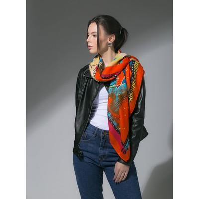 """Платок женский """"Лорентино"""", размер 105*105 см, цвет оранжевый"""