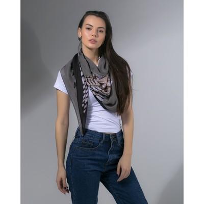 """Платок женский """"Сова"""", размер 105*105 см, цвет черный"""