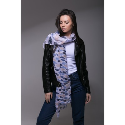 """Палантин Этель """"Перья"""", размер 60 х 180 см, цвет голубой, вискоза"""