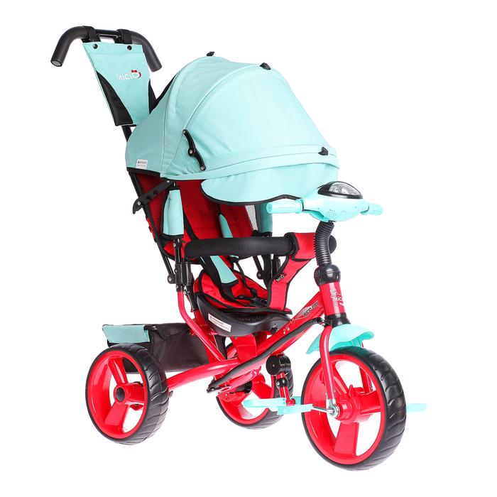 """Велосипед трёхколёсный Micio Сity 2018, колёса EVA 12""""/10"""""""", цвет бирюзовый/красный"""