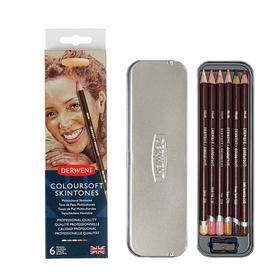 Карандаши художественные цветные Derwent Coloursoft, 6 цветов, оттенки кожи, в блистере