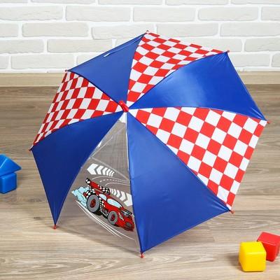 """Зонт детский полуавтоматический """"Самый крутой"""", r=35см, цвет синий/красный/белый"""