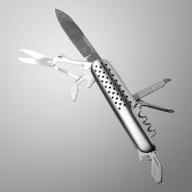 Нож швейцарский Мастер К 7в1, рукоять с перфорацией, хром в Донецке