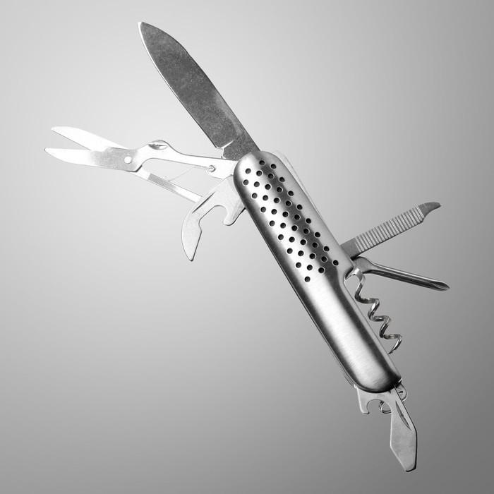 Нож швейцарский Мастер К 7в1, рукоять с перфорацией, хром