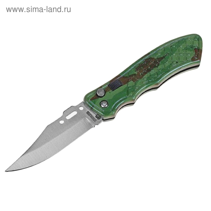Нож складной автоматический, рукоять хаки (с кнопкой и фиксатором)