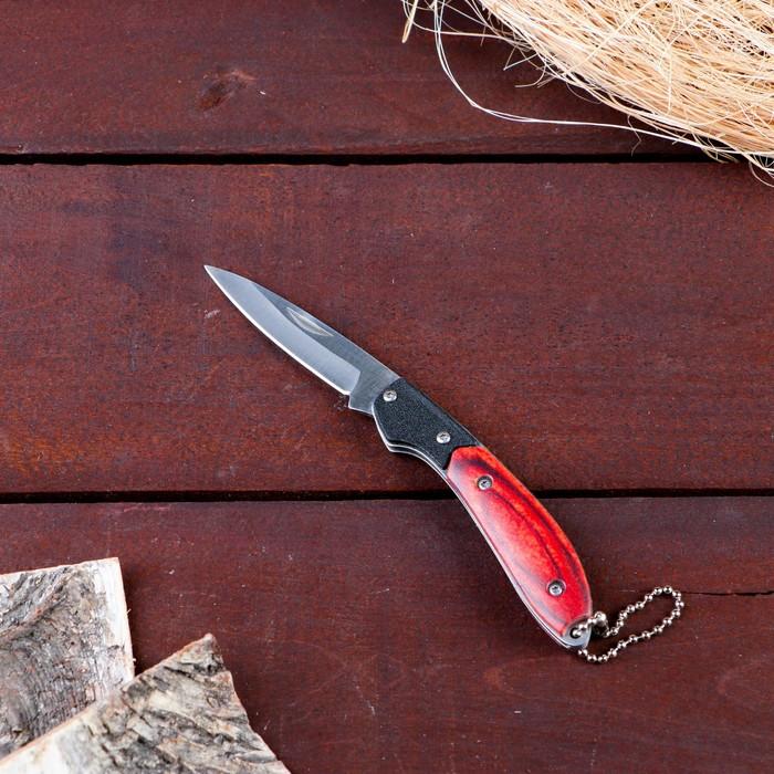 Нож складной с карабином, рукоять дерево - фото 797580016