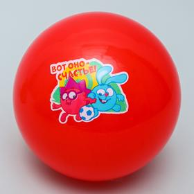 """Мяч детский СМЕШАРИКИ """"Вот оно счастье!"""" Крош и Ежик, 16 см, 50 гр"""