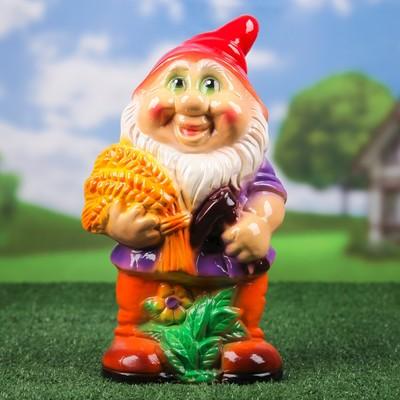 """Садовая фигура """"Гном с колоском"""", разноцветный, 38 см, микс"""