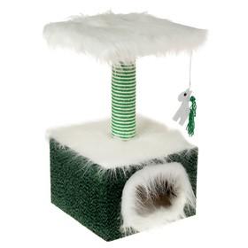 Домик маленький для кошек, мех/велюр, 34 х 34 х 60 см, зеленый