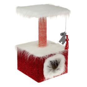 Домик маленький для кошек, мех/велюр, 34 х 34 х 60 см, бордовый