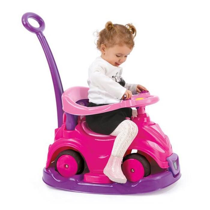 Толокар-автомобиль, 4 в 1, с родительской ручкой, розовый