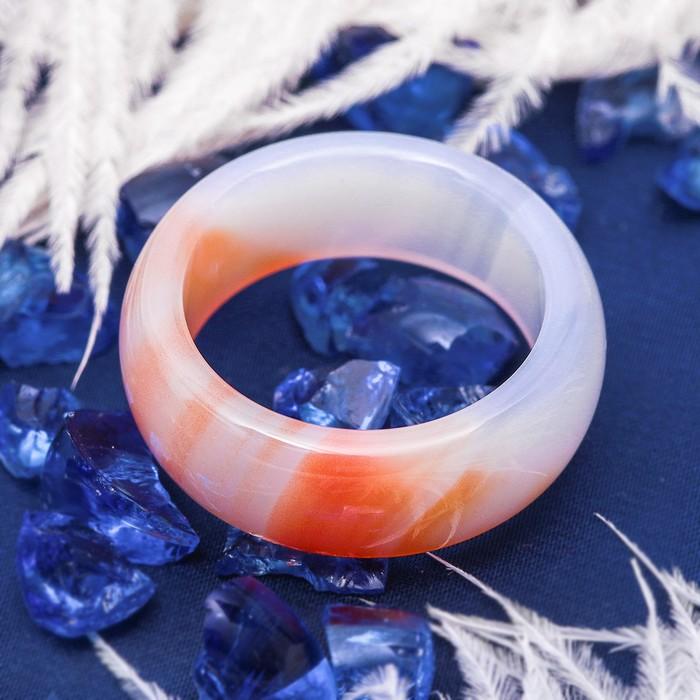 """Кольцо гладкое """"Агат светло-оранжевый"""" 8мм, размер МИКС ( с 17 по 20 размеры)"""