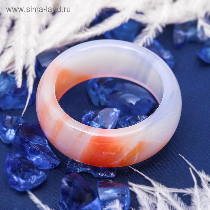 """Кольцо гладкое """"Агат светло-оранжевый"""" 8мм, размер МИКС"""