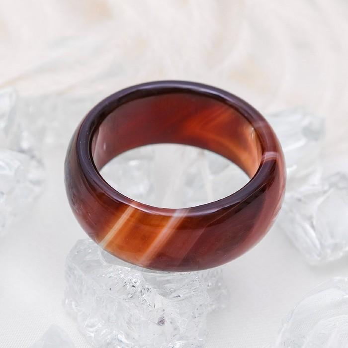 """Кольцо гладкое """"Агат тёмно-коричневый"""" 8мм, размер МИКС ( с 17 по 20 размеры)"""