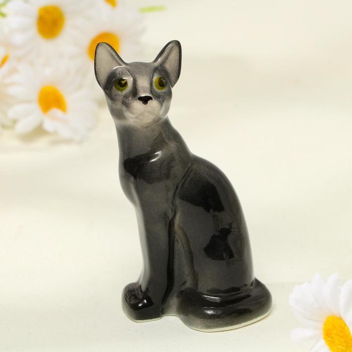 Статуэтка фарфоровая «Кошка Тайка», чёрная, 10см