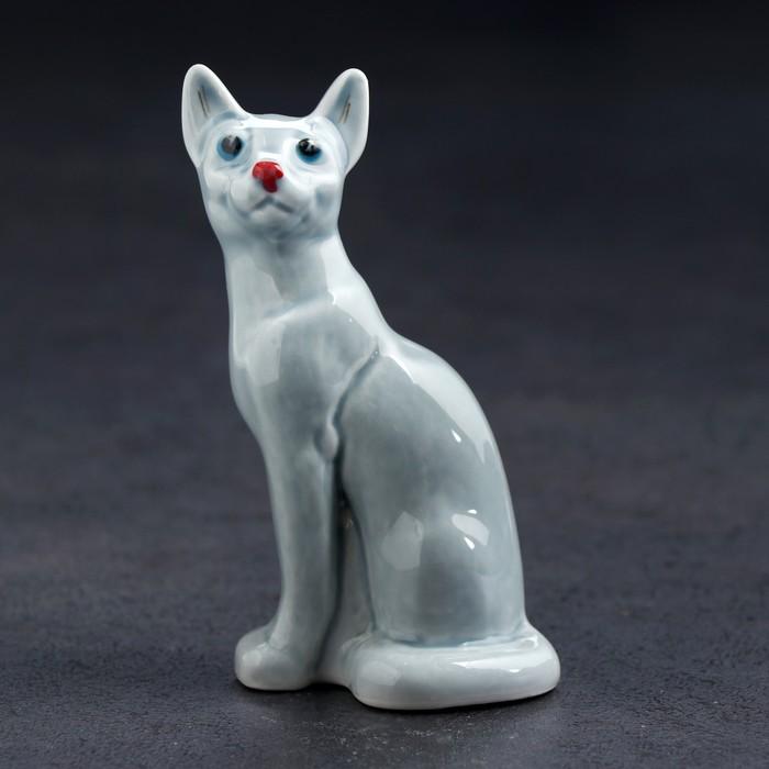 Статуэтка фарфоровая «Кошка Тайка», серая, 10см