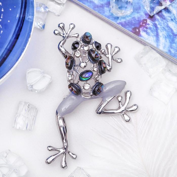 "Брошь ""Галиотис"" лягушка-квакушка, в серебре"