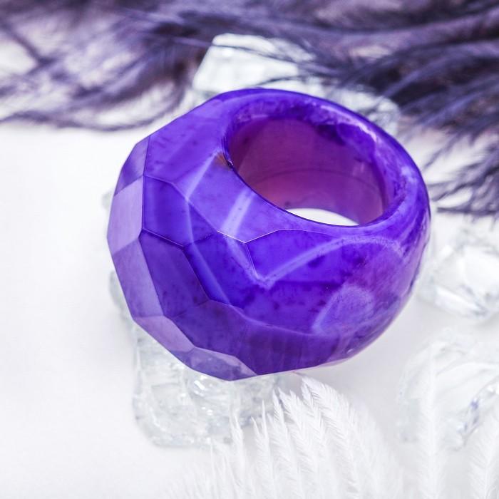 """Кольцо литое, гранёное """"Агат фиолетовый"""", 17 размер"""