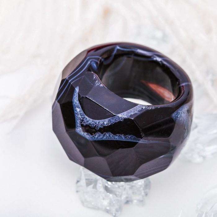 """Кольцо литое, гранёное """"Агат чёрный"""", 17 размер"""