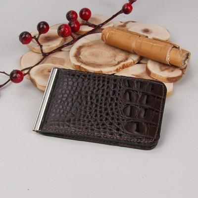 Зажим для денег с металлическим держателем, кайман/скат, цвет коричневый