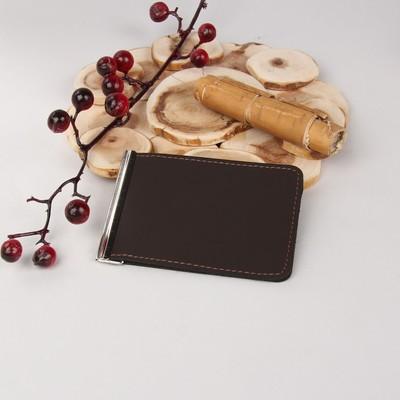 Зажим для денег, с металлическим держателем, полимат лаура, цвет коричневый